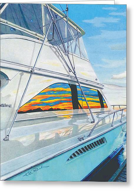 Wrightsville Beach Greeting Cards - 61 Viking Greeting Card by Karen Rhodes