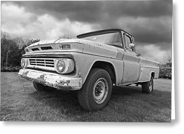 Old Pickup Greeting Cards - 62 Chevy Fleetside in Black and White Greeting Card by Gill Billington