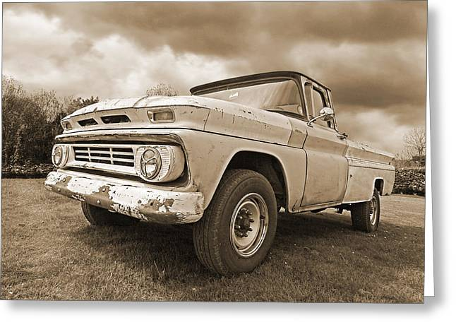 Old Pickup Greeting Cards - 62 Chevy Fleetside in Sepia Greeting Card by Gill Billington
