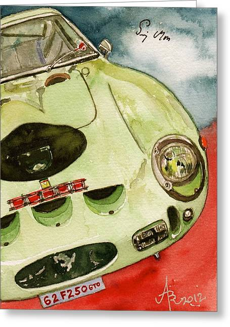 Autograph Paintings Greeting Cards - 62 Ferrari 250 GTO signed by Sir Stirling Moss Greeting Card by Anna Ruzsan