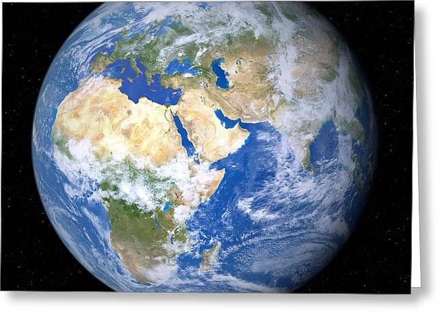 Arabian; Arabia; Middle East; Middle Eastern; Landscape; Desert; Horses; Horse; Mountains; Horse Greeting Cards - Earth From Space, Artwork Greeting Card by Detlev van Ravenswaay
