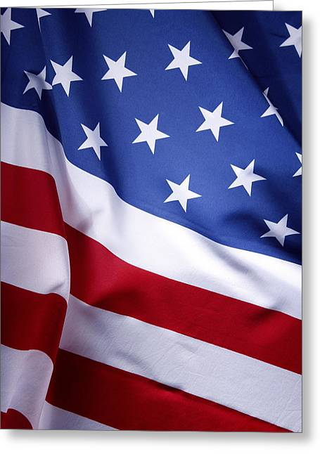 Closeups Greeting Cards - American flag Greeting Card by Les Cunliffe