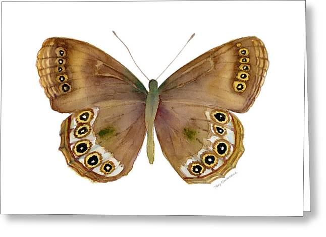 Background Paintings Greeting Cards - 64 Woodland Brown Butterfly Greeting Card by Amy Kirkpatrick