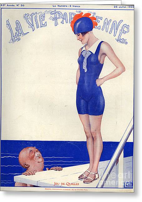 Diving Drawings Greeting Cards - 1920s France La Vie Parisienne Magazine Greeting Card by The Advertising Archives