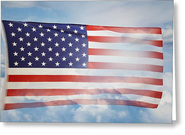July Fourth Greeting Cards - American flag Greeting Card by Les Cunliffe