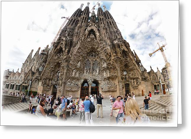 Barcelona Spain - La Sagrada Familia Greeting Card by Gregory Dyer