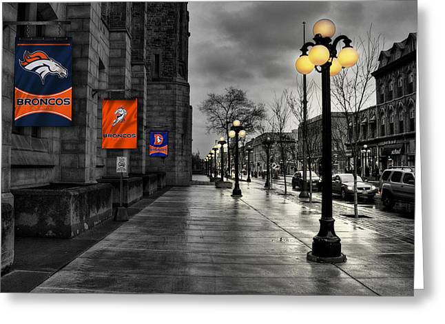 Main Street Greeting Cards - Denver Broncos Greeting Card by Joe Hamilton