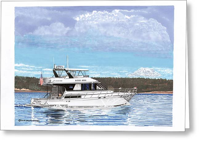 Mt Drawings Greeting Cards - 65 foot motoryacht Mount Rainier Yachting Greeting Card by Jack Pumphrey