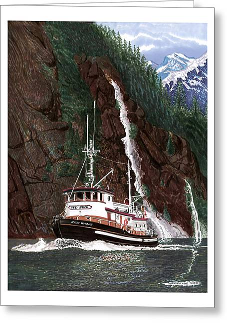 Prints Of Alaska Greeting Cards - 65 foot Tug Boat Red Wing Greeting Card by Jack Pumphrey