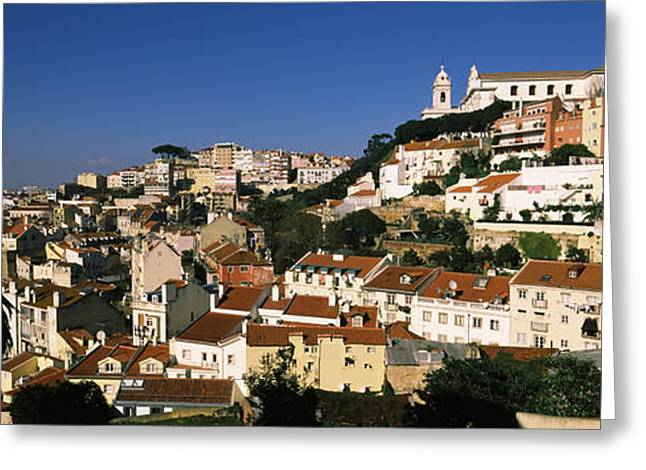 Mediterranean Series Greeting Cards - High Angle View Of Buildings In A City Greeting Card by Panoramic Images