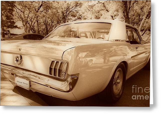 Three Speed Greeting Cards - 65 Mustang Greeting Card by Cheryl Young