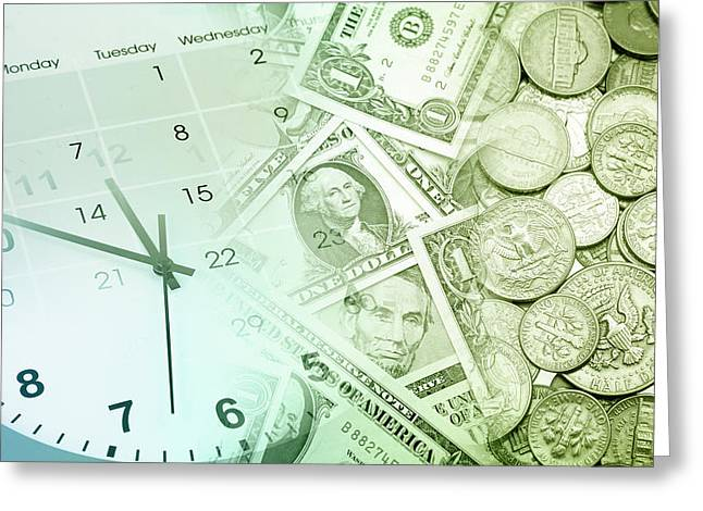 Coins Greeting Cards - Time is money  Greeting Card by Les Cunliffe