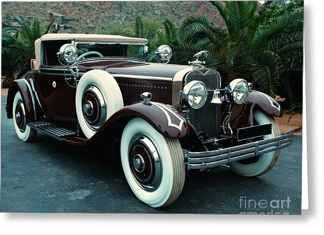 Indian Summer Greeting Cards - Vintage classic car Greeting Card by Indian Summer