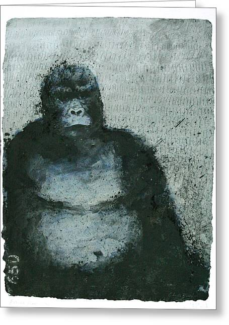 Six Greeting Cards - 650 Mountain Gorillas, 2008 Mixed Media Greeting Card by Charlie Baird