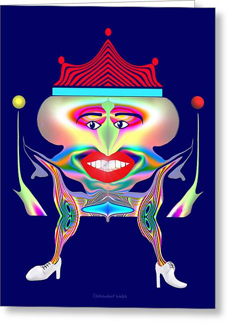 Gimp Greeting Cards - 653 - Mean King of Clowns Greeting Card by Irmgard Schoendorf Welch