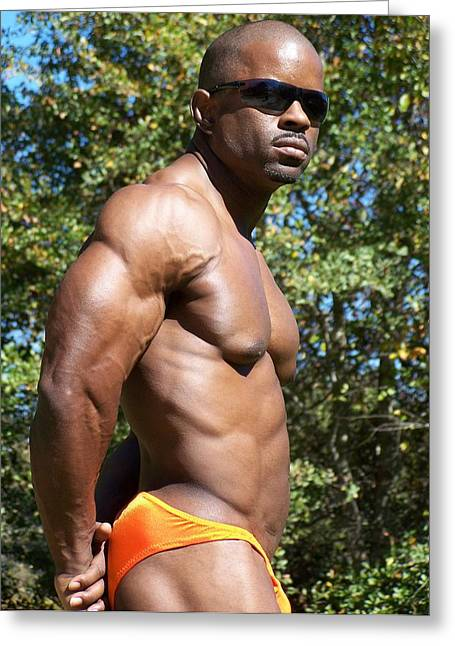 Stock Muscle Photos Greeting Cards - Male Muscle Art Greeting Card by Jake Hartz