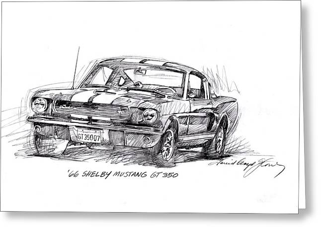 Historic Drawings Greeting Cards - 66 Shelby 350 GT Greeting Card by David Lloyd Glover