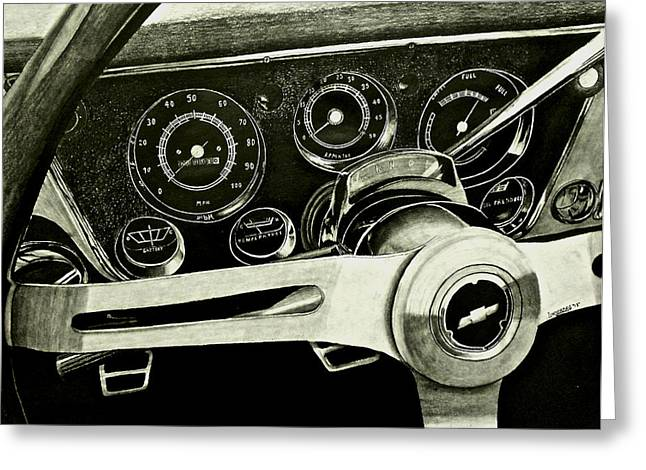 Steering Drawings Greeting Cards - 67-72 Chevy Truck Dash Greeting Card by Brandon Undeberg