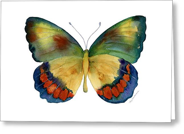 Green And Blue Greeting Cards - 67 Bagoe Butterfly Greeting Card by Amy Kirkpatrick