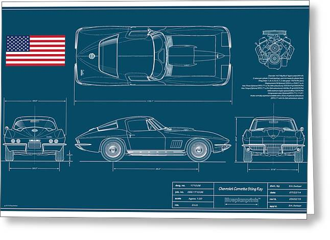 Technical Digital Art Greeting Cards - 67 Corvette 427 Coupe Blueplanprint Greeting Card by Douglas Switzer