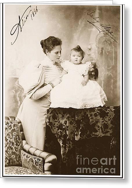 Saint Olga Greeting Cards - 67. Empress Alexandra and Grand Duchess Olga of Russia 1896 Print Greeting Card by Royal Portraits