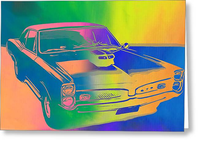 67 Greeting Cards - 67 Pontiac GTO Pop Art Greeting Card by Dan Sproul