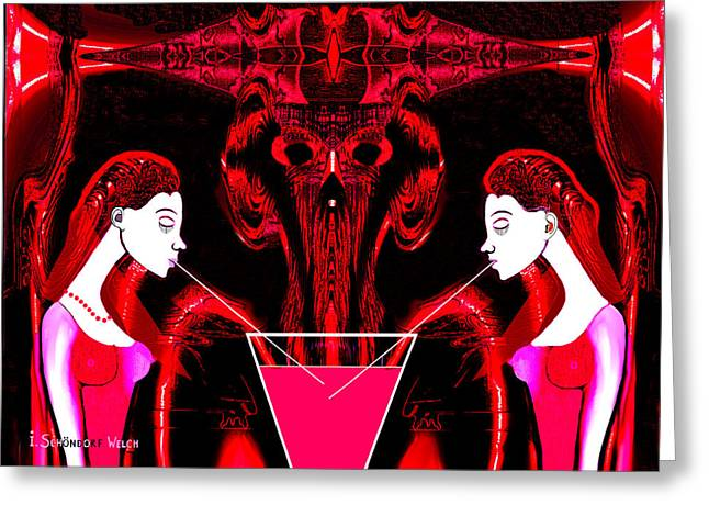 Red Dress Greeting Cards - 674 - Sipping Sangria Greeting Card by Irmgard Schoendorf Welch