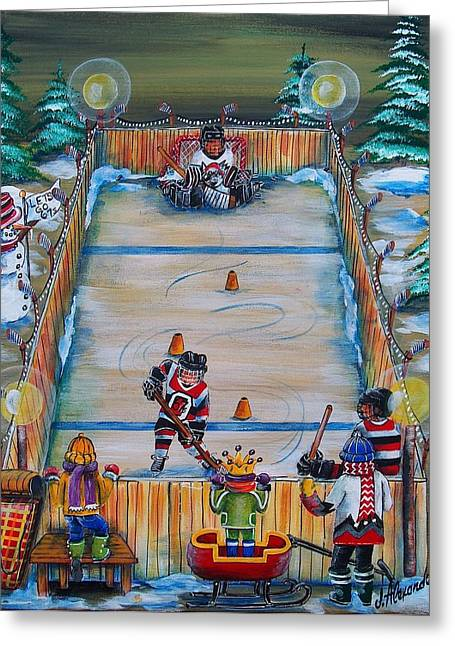 Hockey Paintings Greeting Cards - 67s Captain in Training Greeting Card by Jill Alexander