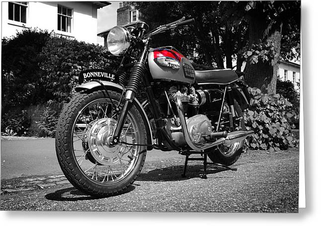 Motorcycles Greeting Cards - 68 Bonneville Greeting Card by Mark Rogan