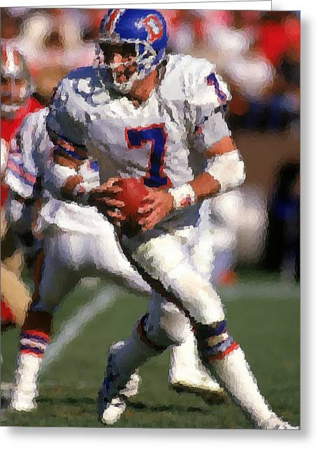 Elway Greeting Cards - Denver Broncos Greeting Card by Joe Hamilton
