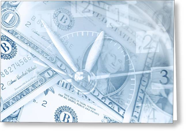 Income Greeting Cards - Time is money  Greeting Card by Les Cunliffe
