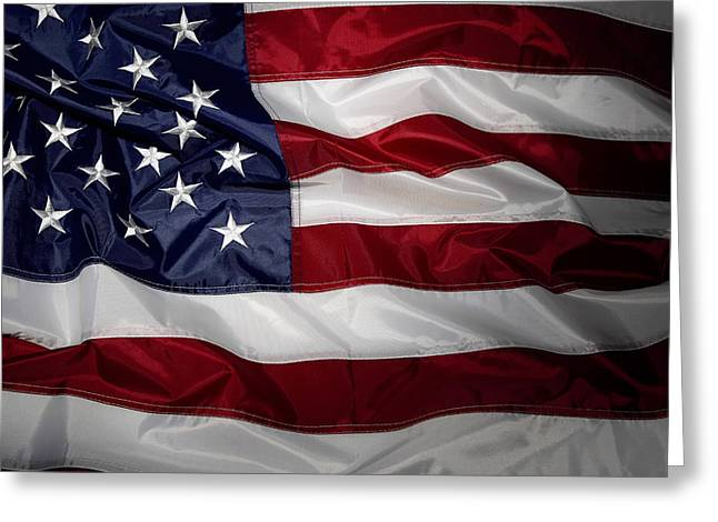 Fold Greeting Cards - American flag Greeting Card by Les Cunliffe