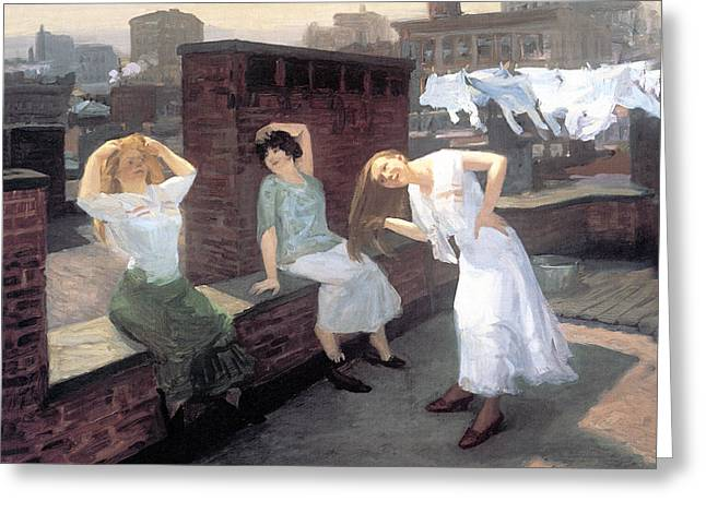 Hair-washing Greeting Cards - Sunday Women Drying Their Hair Greeting Card by John Sloan