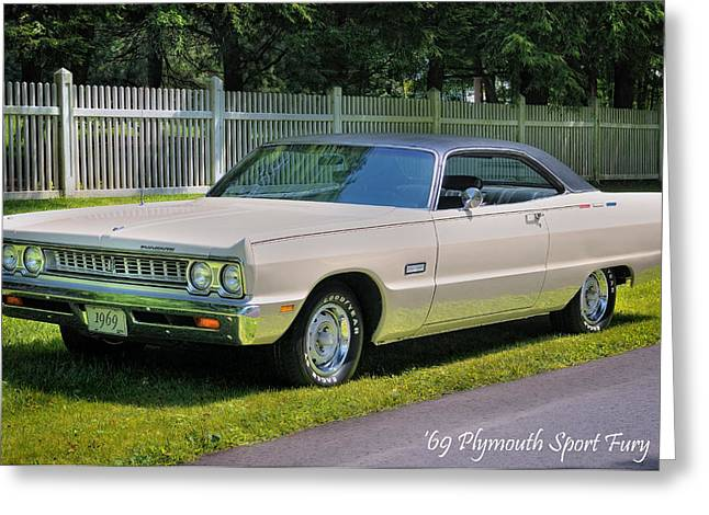 American Automobiles Greeting Cards - 69 Plymouth Sport Fury Greeting Card by Thomas Schoeller