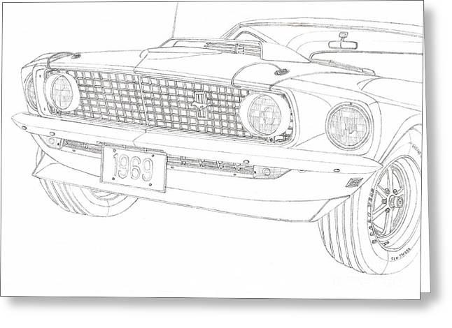 Ford Mustang Drawings Greeting Cards - 69Ford Mustang Mach1 Greeting Card by Kaan Ipek