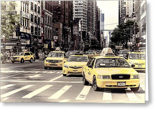 Crosswalk Greeting Cards - 6th Avenue NYC Yellow Cabs Greeting Card by Melanie Viola