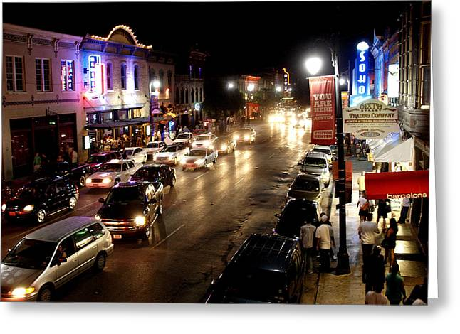James R Granberry Greeting Cards - 6th Street Austin Texas Greeting Card by James Granberry