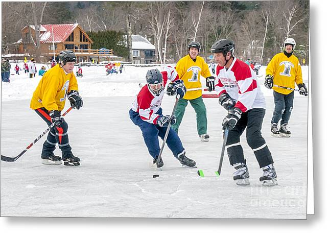 Pond Hockey Greeting Cards - 6th Vermont Pond Hockey Greeting Card by Jim Block