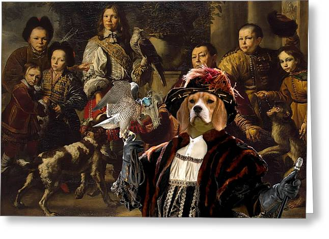 Beagle Prints Greeting Cards -  Beagle Art Canvas Print  Greeting Card by Sandra Sij