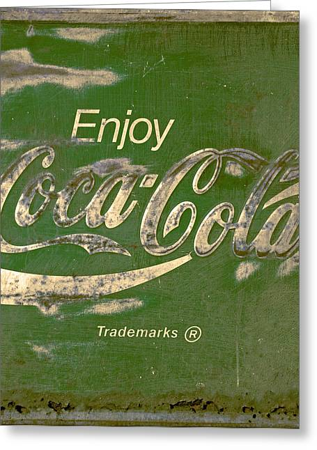 Closeup Coca Cola Sign Greeting Cards -  Coca Cola Sign Grungy Retro Style Greeting Card by John Stephens