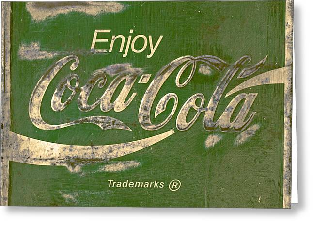 Vintage Coca Cola Sign Greeting Cards -  Coca Cola Sign Grungy Retro Style Greeting Card by John Stephens