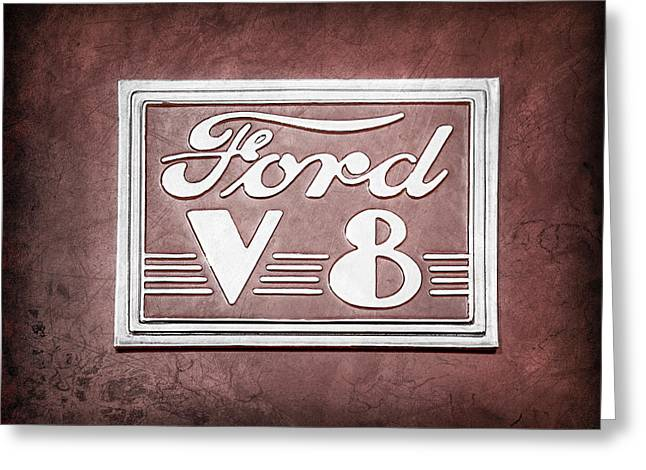 V8 Greeting Cards - 1940 Ford Deluxe Coupe Emblem Greeting Card by Jill Reger