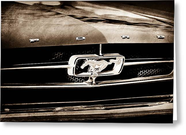 1965 Mustang Greeting Cards - 1965 Shelby Prototype Ford Mustang Grille Emblem Greeting Card by Jill Reger