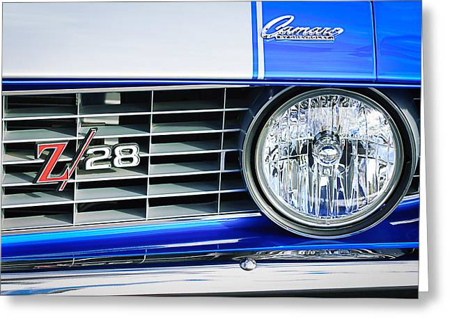 1969 Chevrolet Camaro Z-28 Grille Emblem Greeting Card by Jill Reger