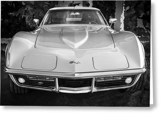 Custom Grill Greeting Cards - 1969 Chevrolet Corvette 427 BW Greeting Card by Rich Franco