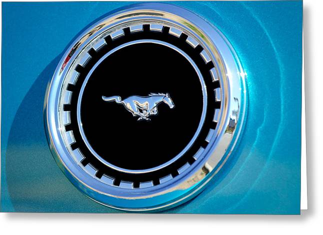 1969 Greeting Cards - 1969 Ford Mustang Mach 1 Emblem Greeting Card by Jill Reger