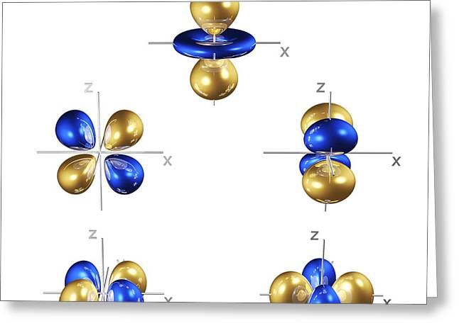 3d Electron Orbitals Greeting Card by Dr. Mark J. Winter