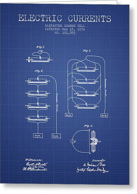 Technical Greeting Cards - Alexander Graham Bell Electric Currents Bell Patent from 1876 -  Greeting Card by Aged Pixel