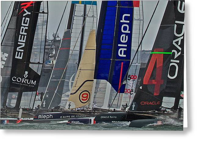 Alcatraz Greeting Cards - Americas Cup World Series Greeting Card by Steven Lapkin