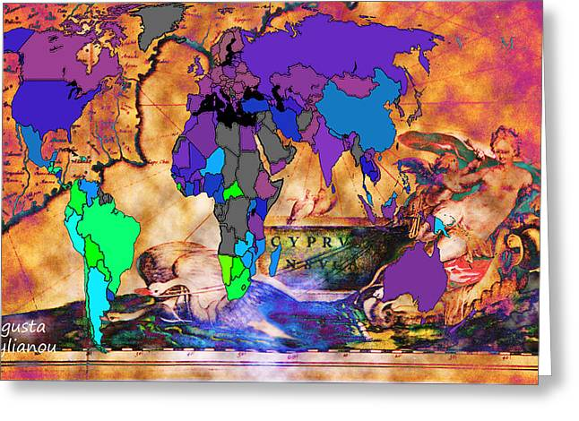 Old Map Digital Art Greeting Cards - Ancient Cyprus and World Map  Greeting Card by Augusta Stylianou